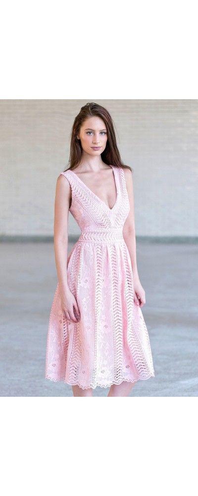 Lily Boutique Vintage Vines Crochet Lace Midi Dress in Pink, $46 ...