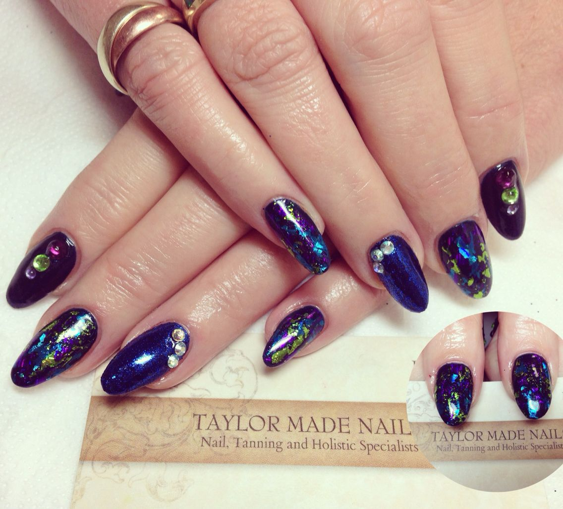 Blue stiletto foils #CND #nails #glitter #TaylorMadeNailsExmouth #nailswag #nailart #nails2inspire #nailstagram #Shellac