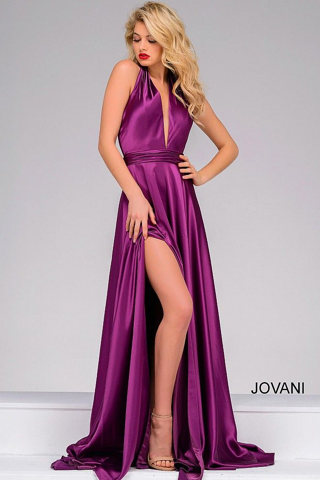 Classy purple satin floor length prom dress features halter ...