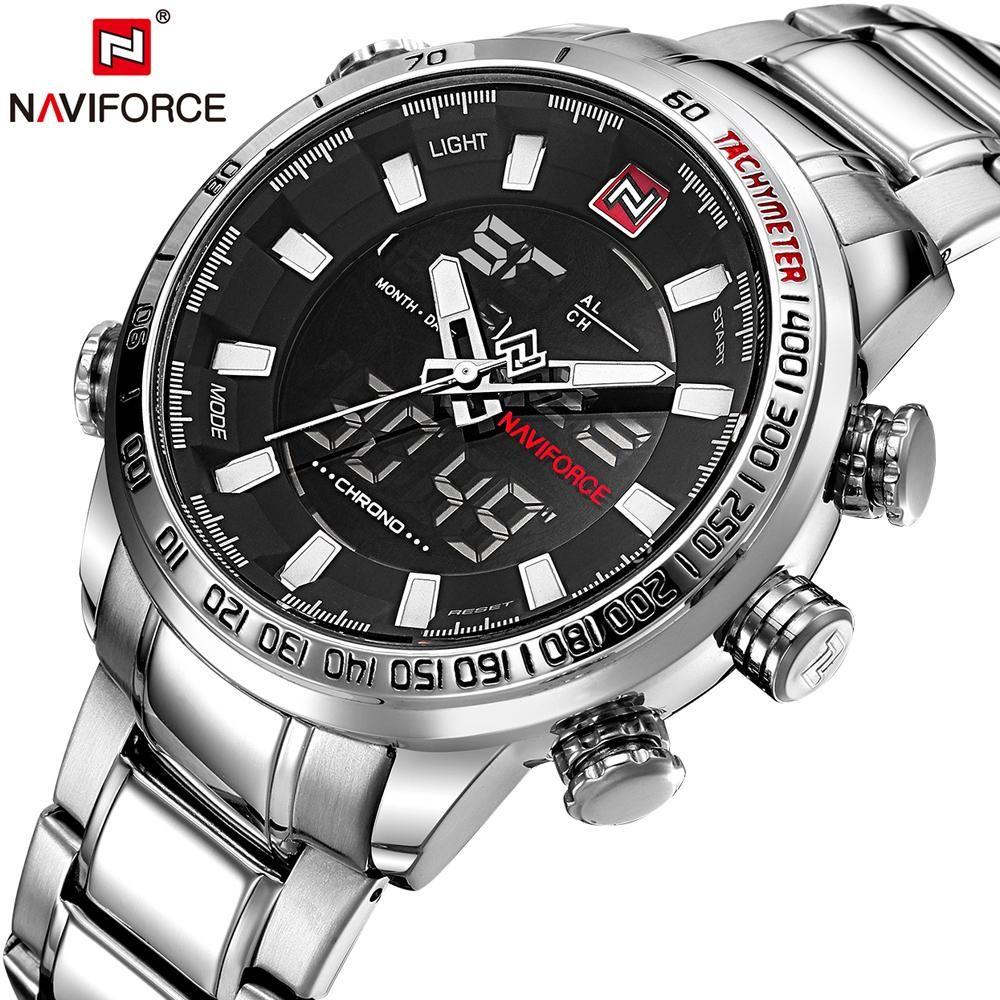 Naviforce Mens Quartz Analog Watch Luxury Fashion Sport Wristwatch Waterproof Stainless Male Watches Clock Relogio Masculino Relojes Deportivos Relojes De Lujo Reloj Digital
