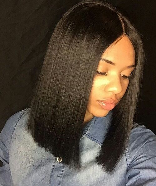 Bola, long Bob hair middle parting Indian remy full lace