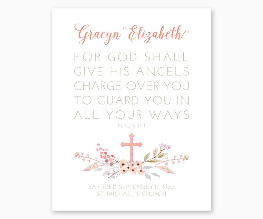 photograph relating to Psalm 91 Printable referred to as Custom-made Baptism Present Print Psalm 91:11 For God Shall