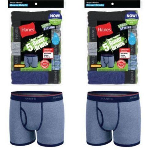 10-Pack Hanes Boys Sport Style Ringer Boxer Briefs Underwear ASSORTED COLOR S-XL #Hanes #BoxerBriefs