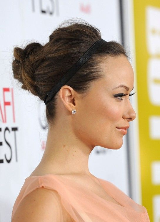 Olivia Wilde Elegant Updo with Headband: Great for Prom