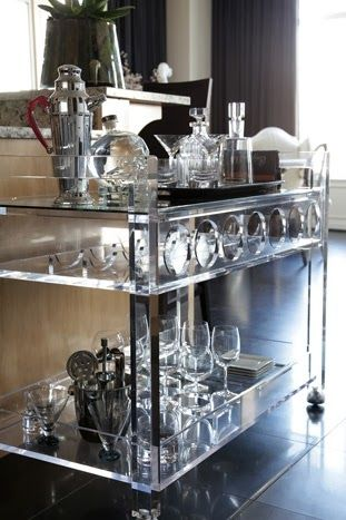 Serving holiday cocktails? This Lucite Lux® bar cart does it in style.