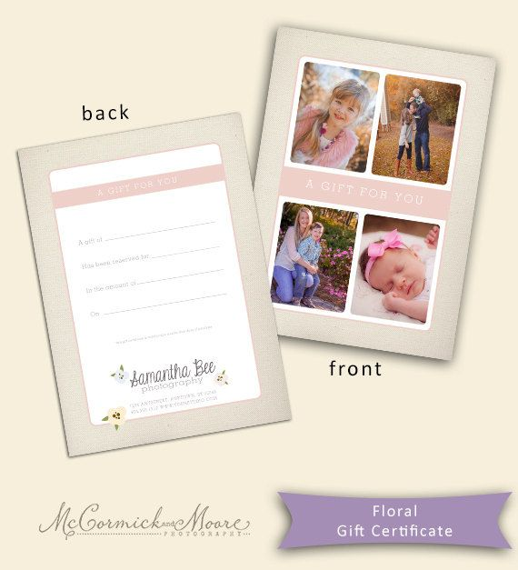 Floral Gift Certificate Template - Photography Gift Certificate - photography gift certificate template