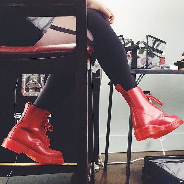 dr martens pascal boots in all over poppy red divers. Black Bedroom Furniture Sets. Home Design Ideas
