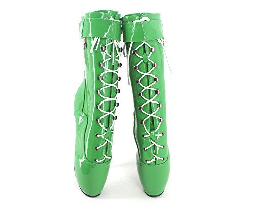 9b029f6ed11 Wonderheel 7 stilleto heel green patent sexy fetish lace up ankle ballet  boots    Visit the image link more details.