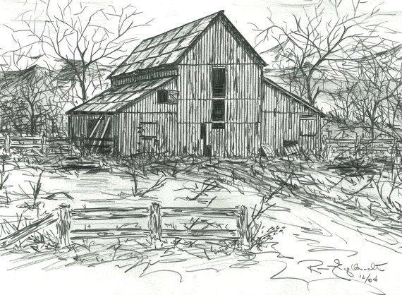 Pencil Sketches Of Old Barns Drawings Of Old By Loneelkgallery