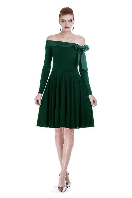ebad8546eee8 Šaty s mašlí - smaragdově zelené