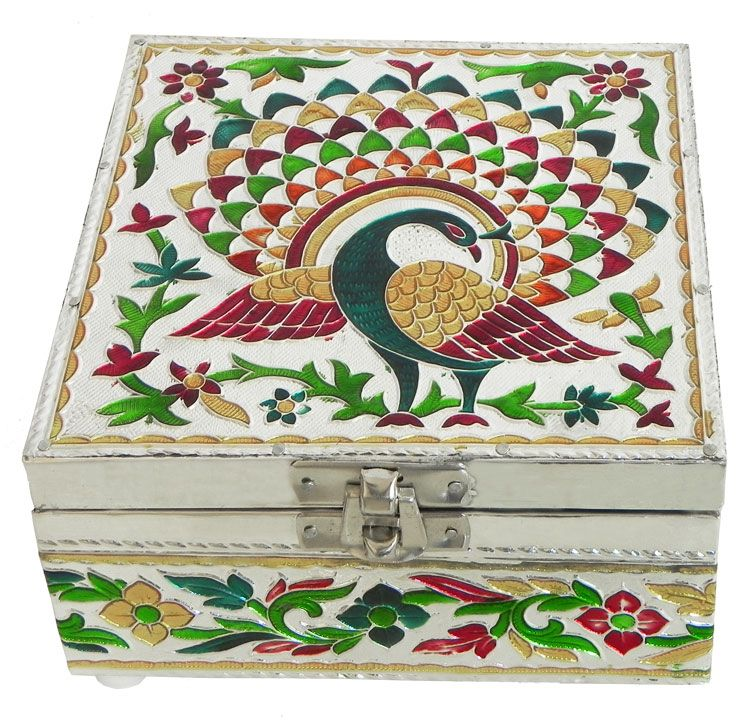 Jewelry Boxes At Kohl's Peacock Meenakari Jewelry Box With Velvet Lining  Peacocks Box And