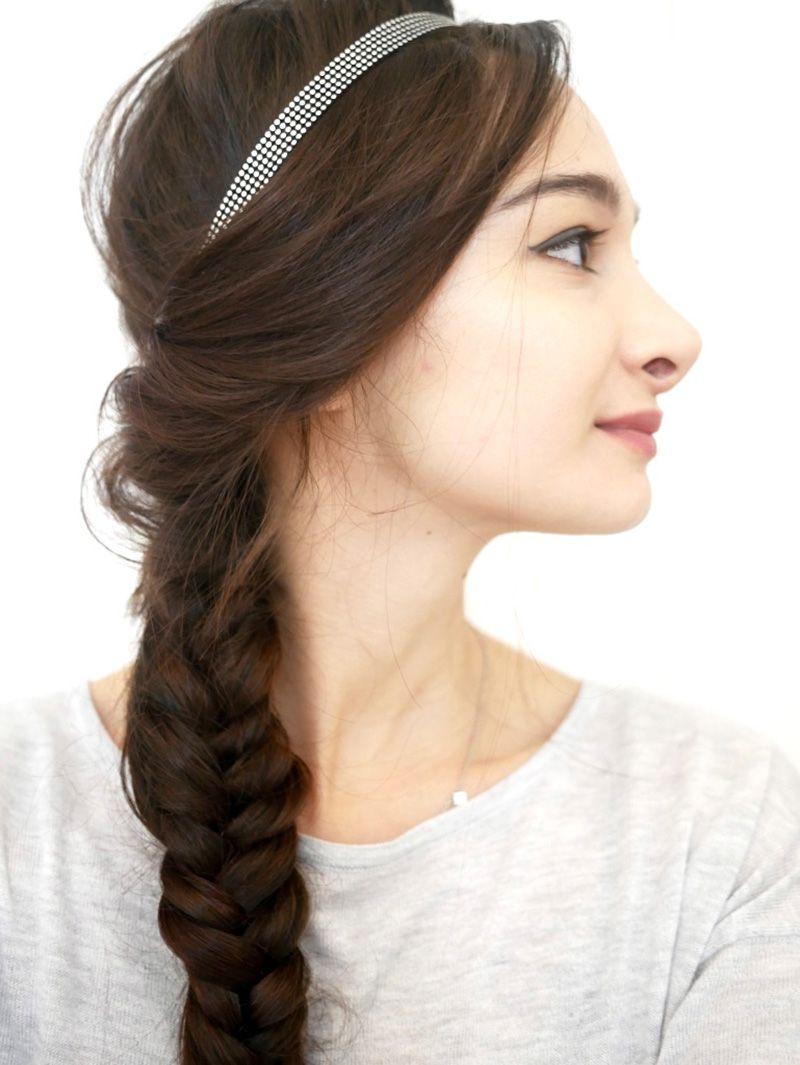 Fishtail and headband tresse cheveux Cheveux chics