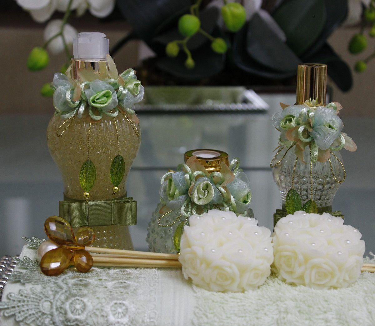 Kit Banheiro Casamento Luxo : Kit lavabo luxo verde adornos decorativos flores de