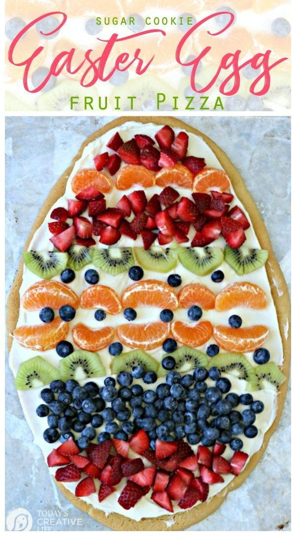 Photo of Sugar Cookie Easter Egg Fruit Pizza