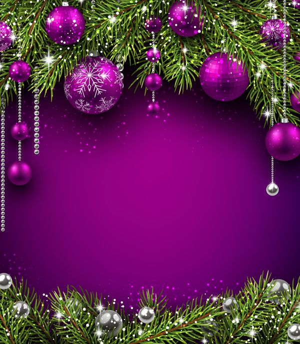 Purple christmas decor with background vector