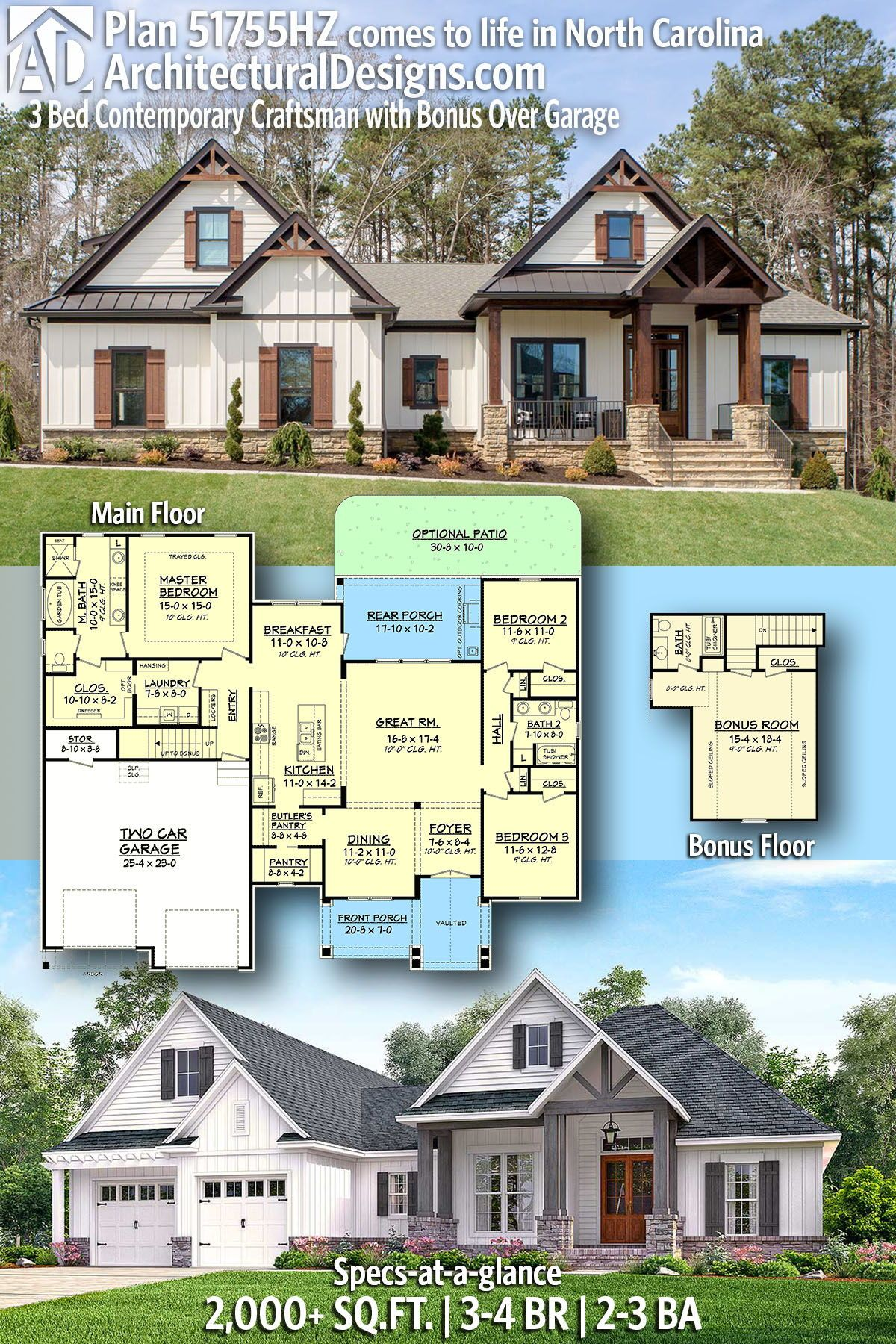 Plan 51755hz 3 Bed Contemporary Craftsman With Bonus Over Garage In 2020 Craftsman House Plans New House Plans Dream House Plans