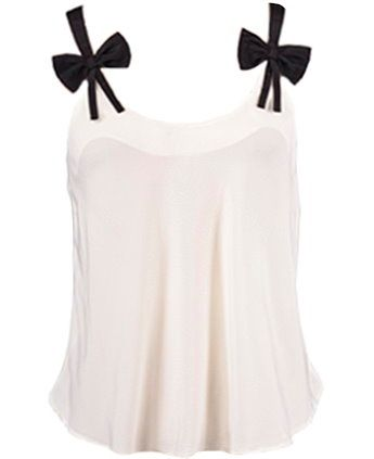 Grand Prize Top: Features bold black straps crowned with a sugary sweet bow on each side, lightly gathered front for subtle dimension, and a slightly cropped rear hem to finish.