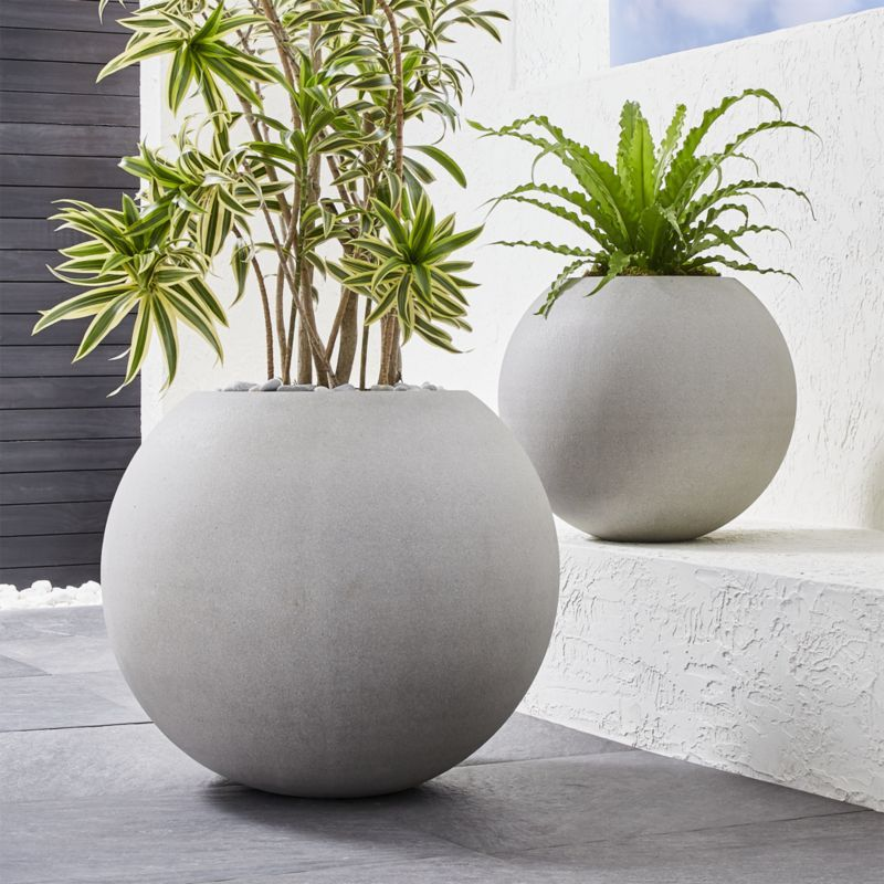 Sphere Light Gray Planters Crate And Barrel With Images Gray