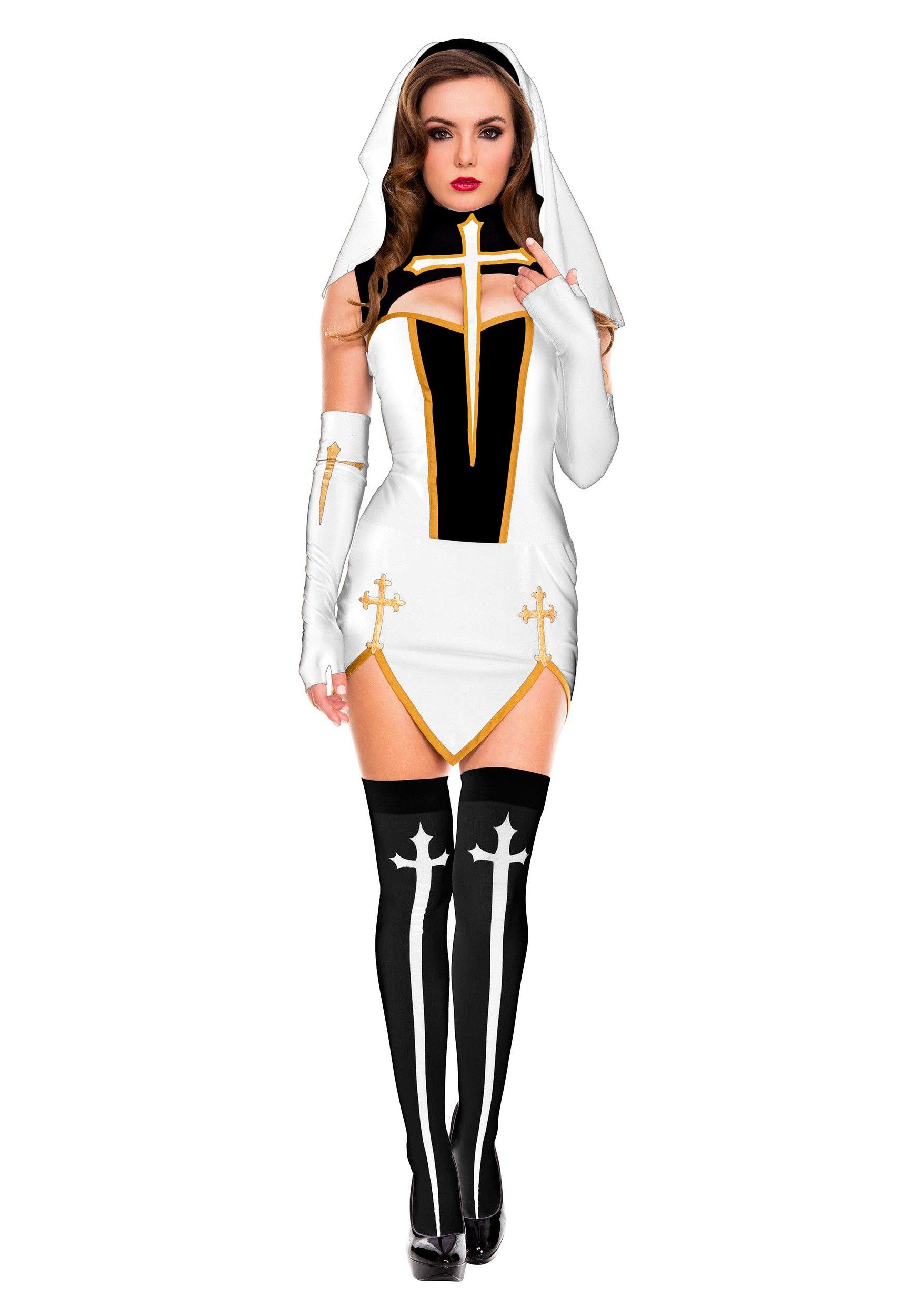 c1b6e1365b Get this uniquely styled White Bad Habit Nun Costume for women and show  everyone just how good you can look.