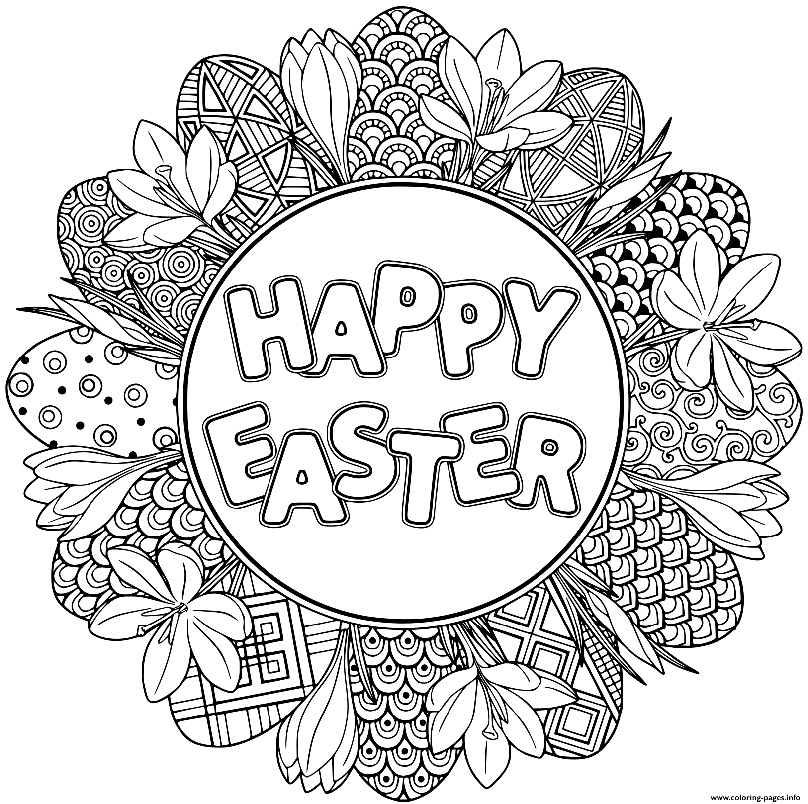 Print Happy Easter Easter Mandala Coloring Pages Easter Coloring Sheets Easter Coloring Book Easter Coloring Pages