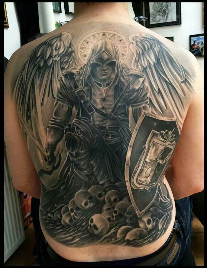 Warrior Angel Tattoo Designs For Men