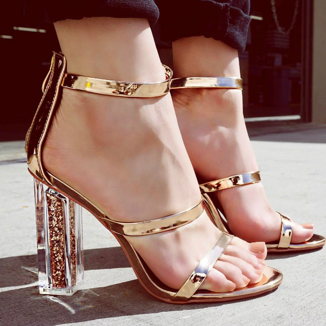 e34a279f2ad7 Strappy Open Toe Single Sole Chunky Heels