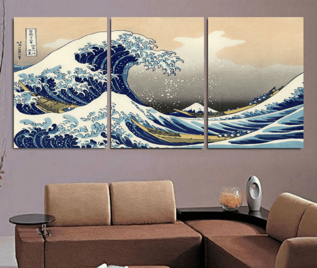 3 Panel Great Wave Off Kanagawa Canvas Wall Art Canvas Painting Landscape Wall Art Pictures Home Decor Wall Art