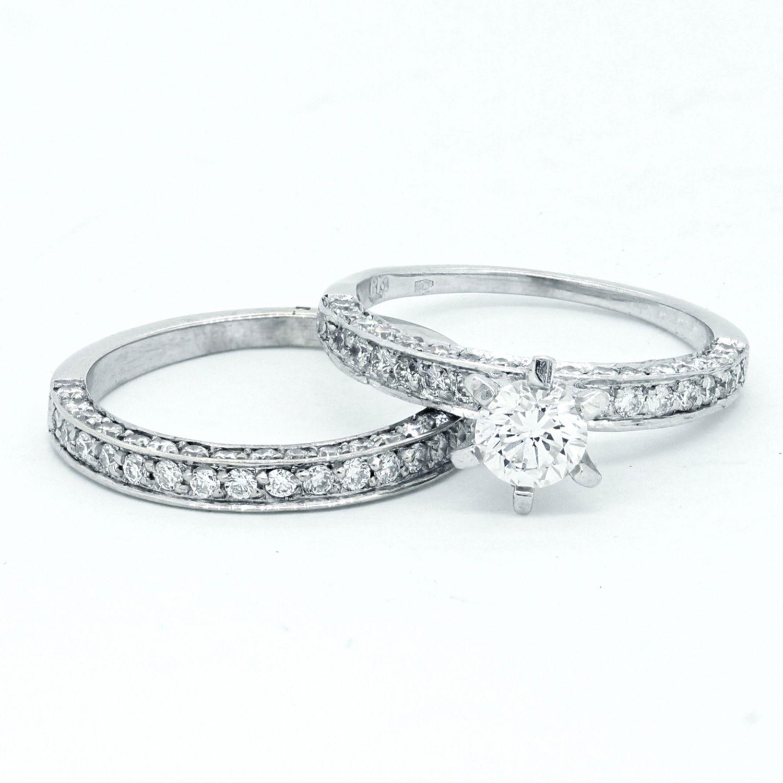 Diamond Bridal Set Unique Engagement Ring and Wedding Band Set 14K