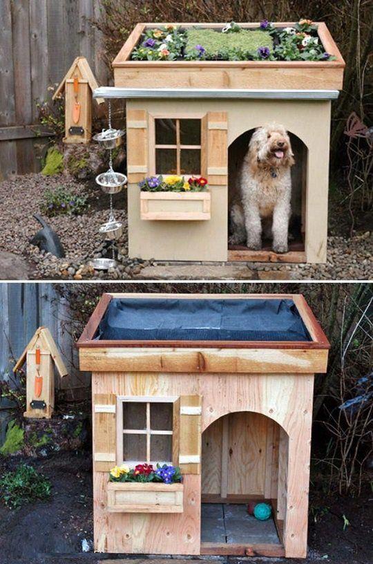 33 ideas de guaridas y camas para consentir a tus mascotas - Como hacer una caseta de madera para el jardin ...