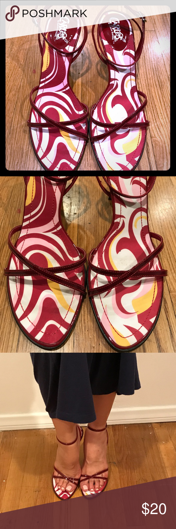 Carlos by Carlos Santana Heels Red Patent Strap Heels. Never got to wear them just been stored. Practically new. Strap/ Elastic loose (see last pic) still tie of course. Carlos Santana Shoes Heels