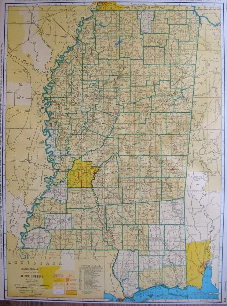 Details about 1945 MISSISSIPPI Map with RAILROADS