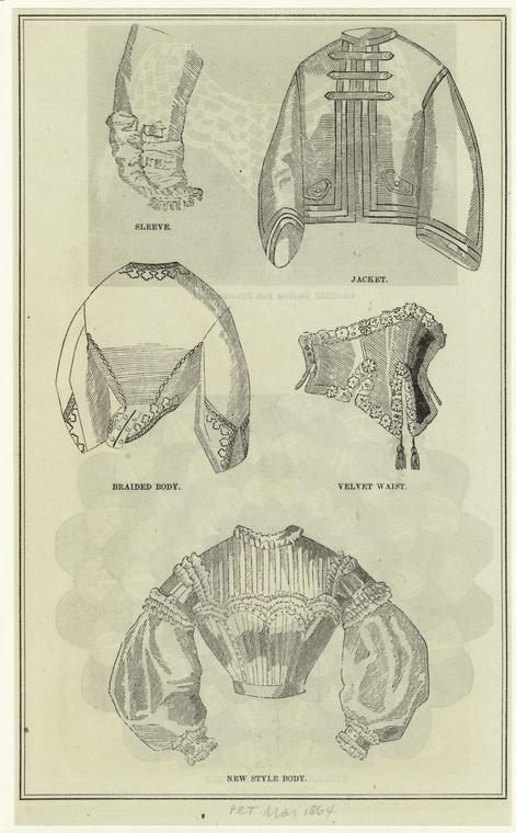 March 1864 Fashion Civil War style. Velvet waist among other clothing.