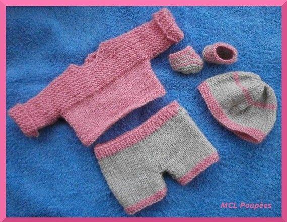 Habits poupon 30 cm - Ensemble layette rose et grise au tricot ...