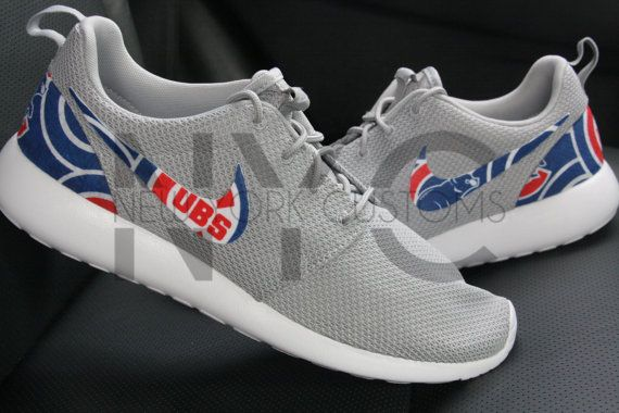 newest be013 70290 Chicago Cubs 16 Nike Roshe One Run Wolf Grey Custom by NYCustoms