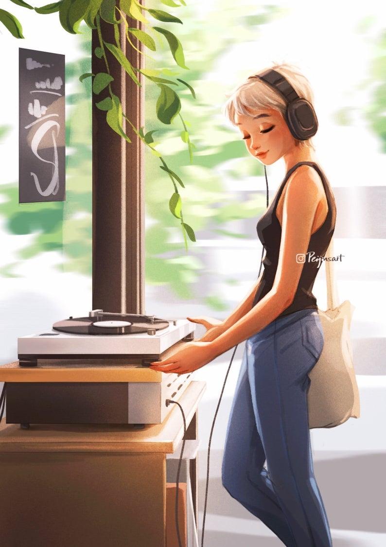 Calm  Art Print  Music Lover  Serenity  Short Hair Girl    Etsy