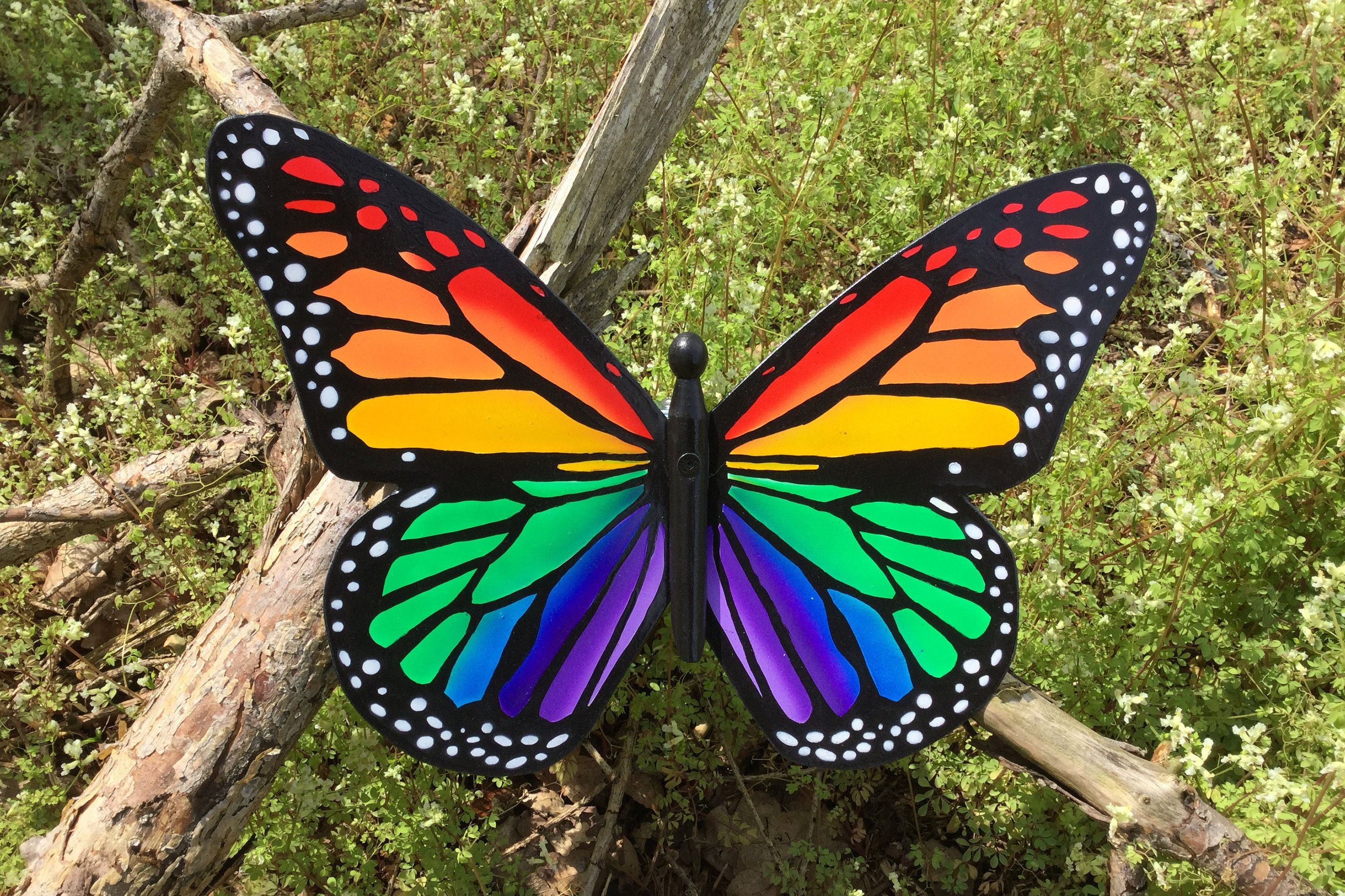 Rainbow Butterfly, Garden Butterfly Art, Wall Art, Garden Decor ...