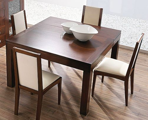 Mesa de comedor con tapa de madera y extensible a 130x130 cm