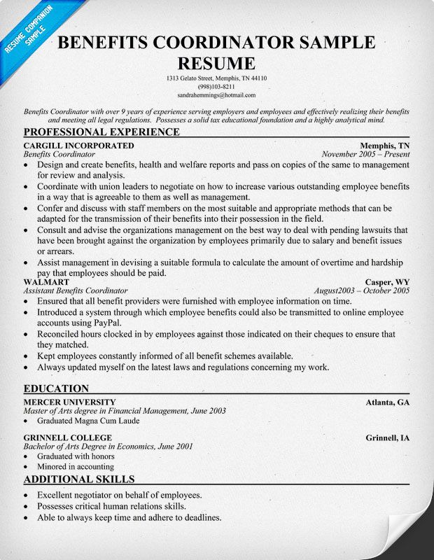 Benefits Coordinator Resume (resumecompanion) Resume Samples - example of an effective resume