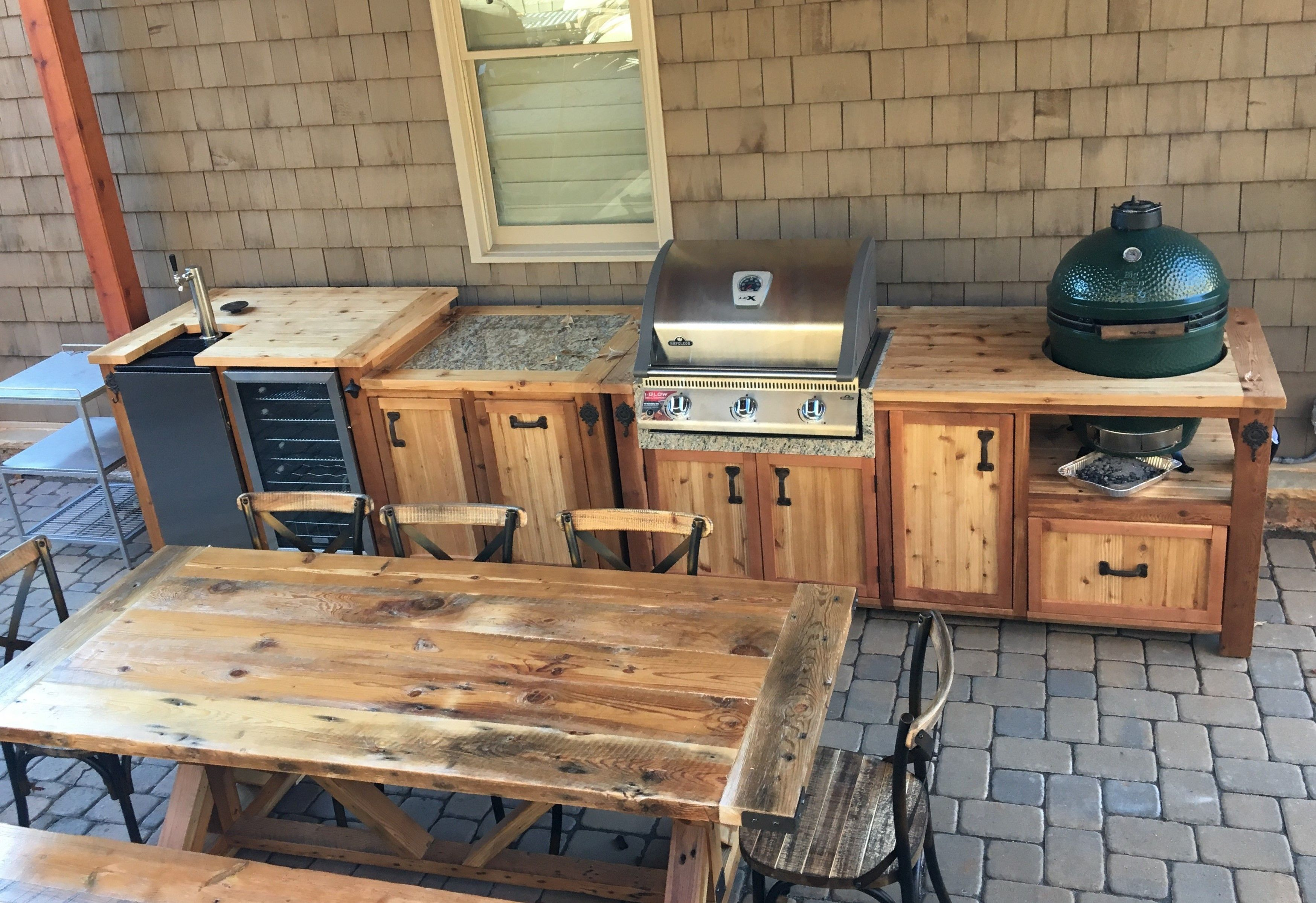 Custom Dual Grill Beverage Island With Napoleon Gas Grill Big Green Egg Kegerator Mini Fridge We Customize Patio Kitchen Outdoor Kitchen Grill Table