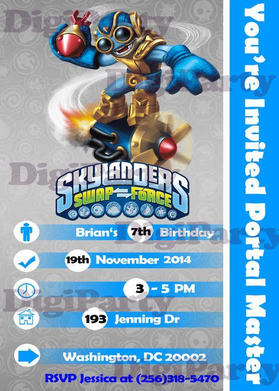 New Skylanders birthday invitation Boom Jet for 999 at https