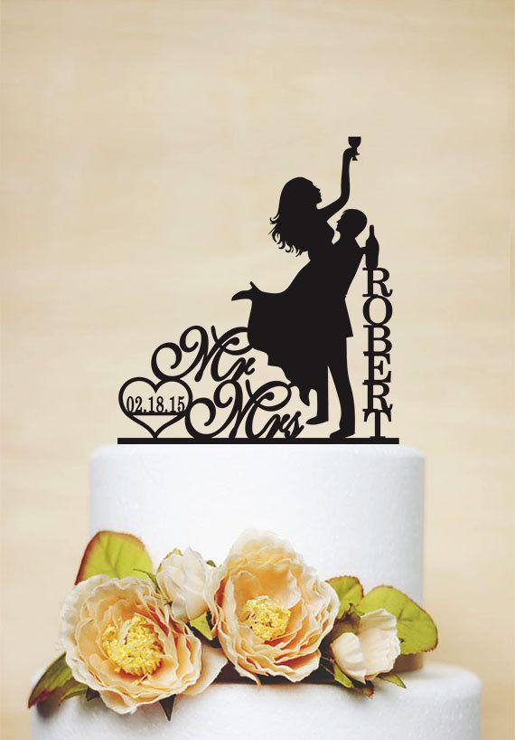 Wedding Cake Topper Drunk Bride Cake Topper Custom Cake Topper Bride