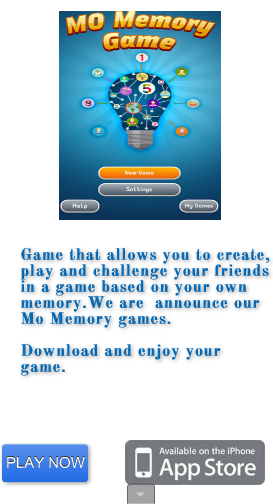 Are you up to the ultimate iPhone Memory game challenges? Keep your brain in proper working order by playing simple and fun MO Memory game. If you like memory games, you'll love MO Memory for iPhone and iPad.https://itunes.apple.com/gb/app/mo-memory/id1030704755?mt=8