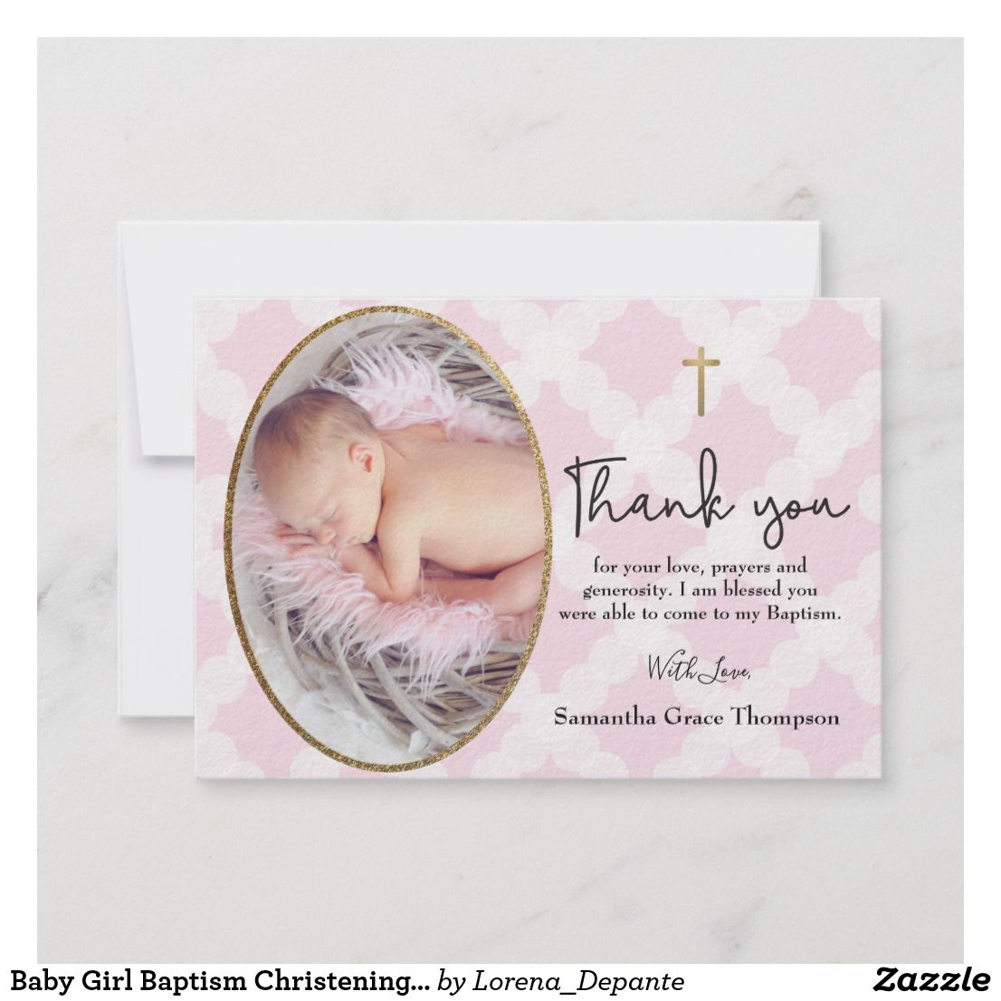 Baby Girl Baptism Christening Pink White Thank You Zazzle Com Baby Girl Baptism Baptism Girl Baptism Thank You Cards