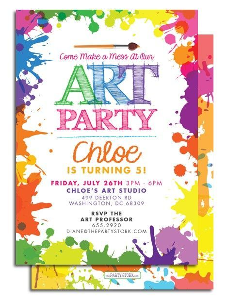 printable art party invitation at the party stork party printables