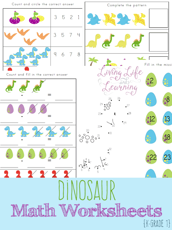 FREE Dinosaur Math Worksheets | Math worksheets, Worksheets and ...