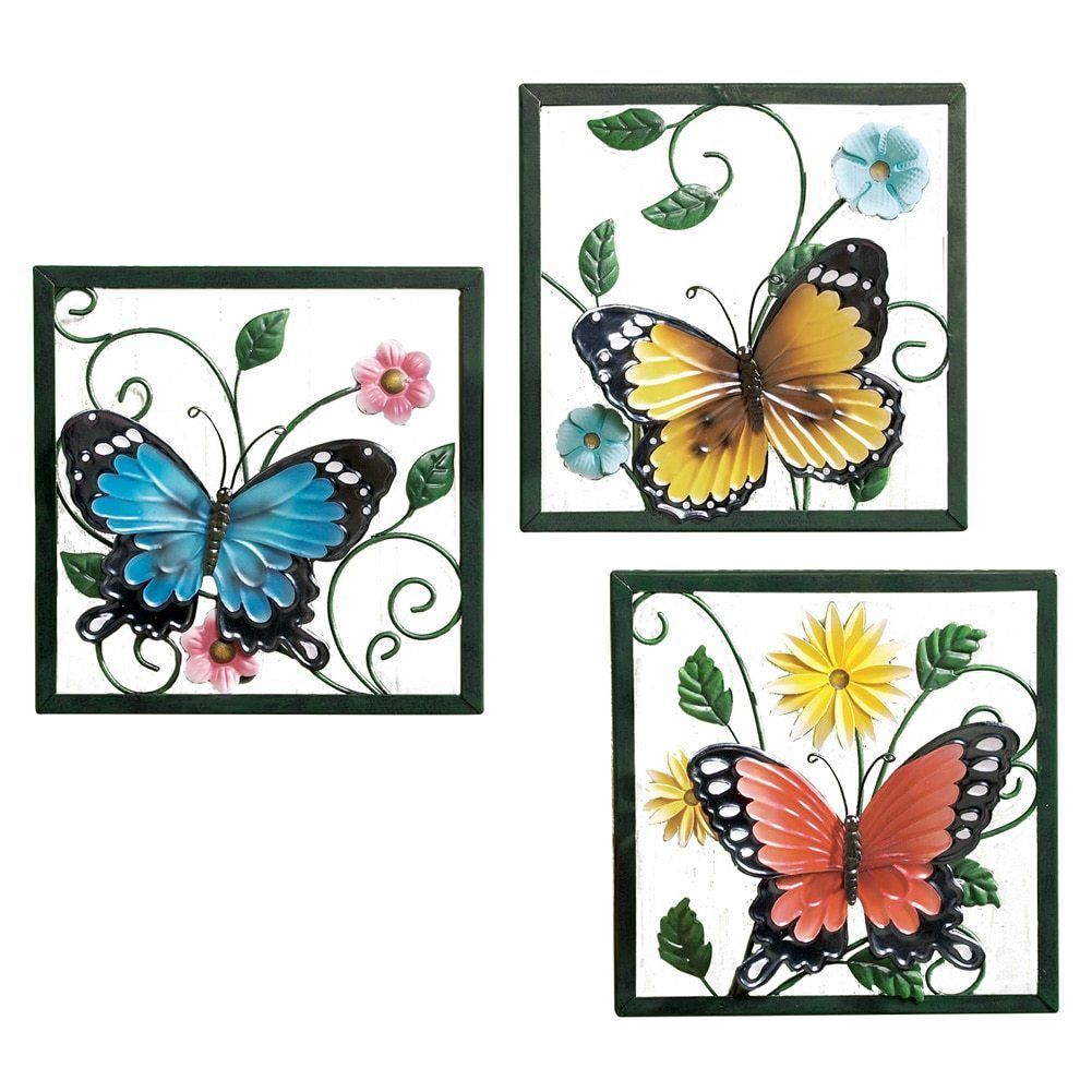 Collections etc fluttering butterfly wall art trio metal art