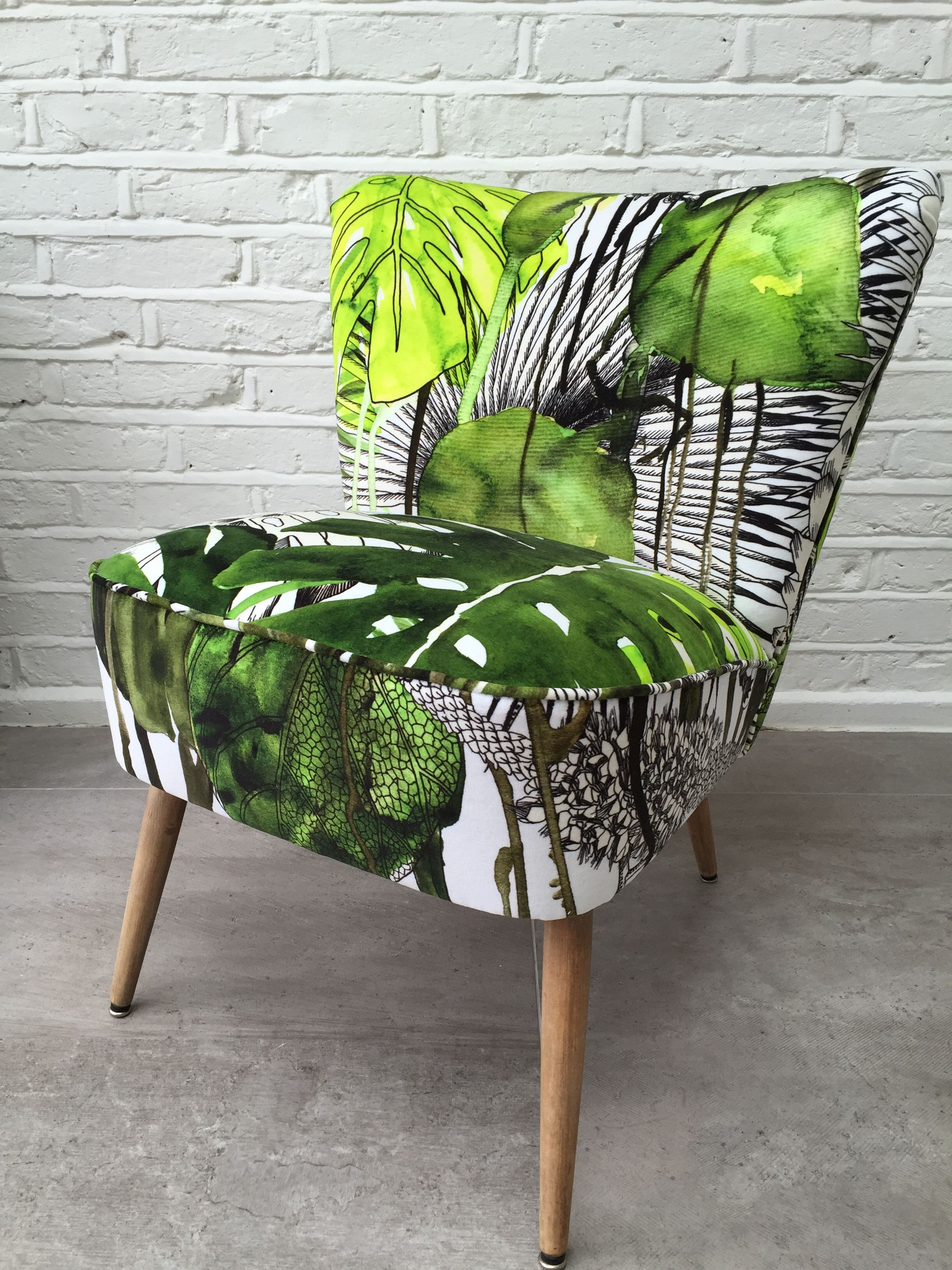 Sanderson Sessel Cocktail Chair Reupholstered Recovered In Christian