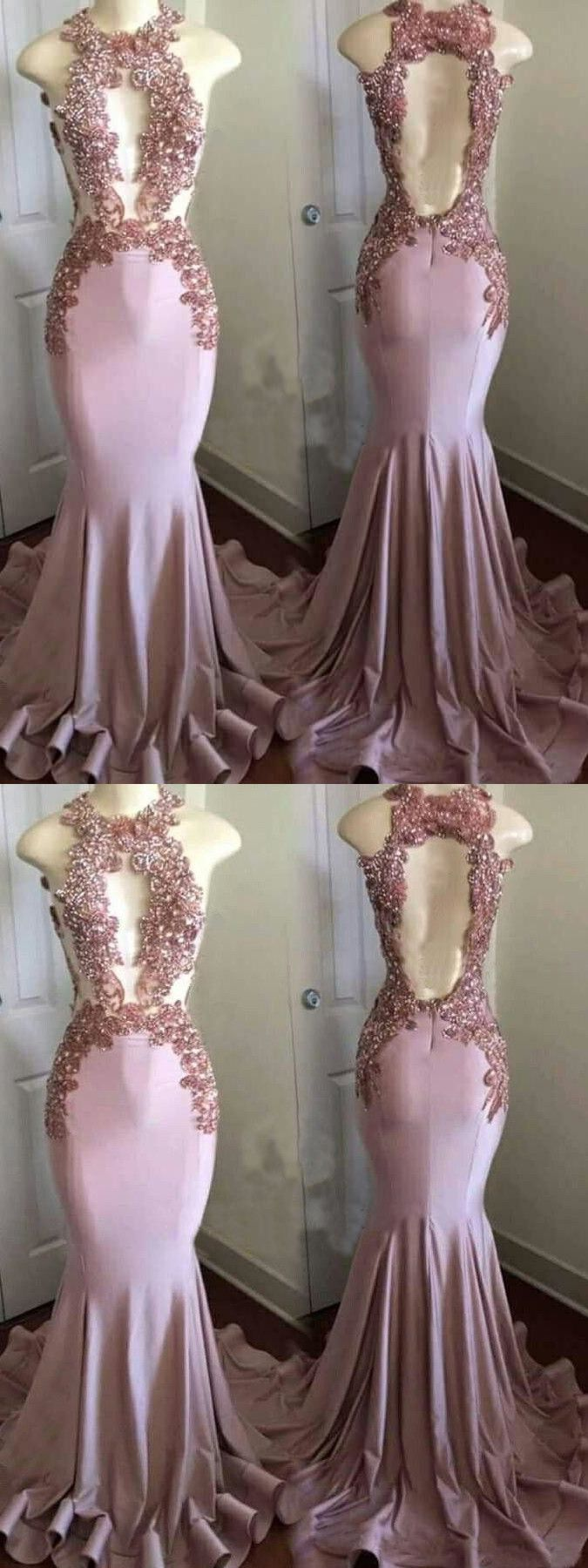 Chic mermaid pink prom dress cheap beautiful long prom dress er