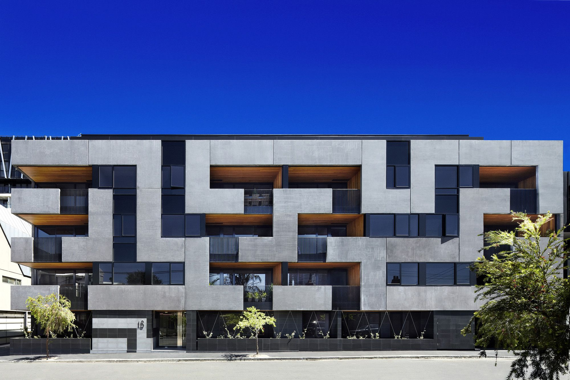 Built by CHT Architects in Richmond, Australia with date 2012. Images by Christine Francis. Conceptual Framework   The Maze Apartments is a five-storey building comprising 32 one- and two-bedroom apartments. T...