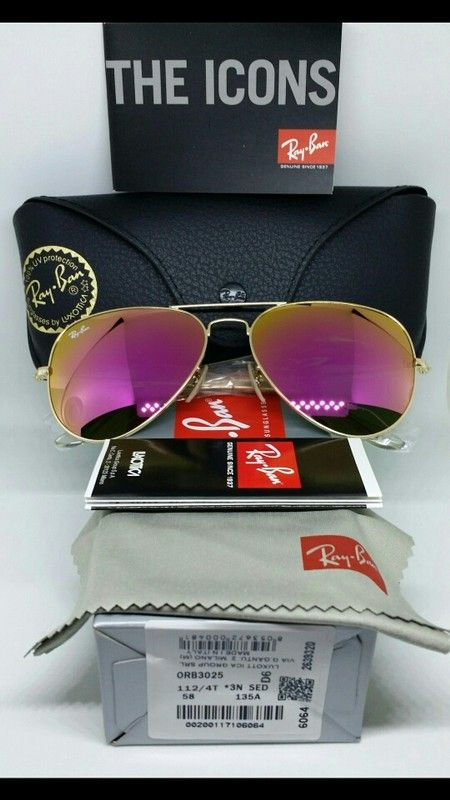 fc6c25b67b Authentic Ray-Ban Aviator Hot Pink Magenta Lens   Gold Frame